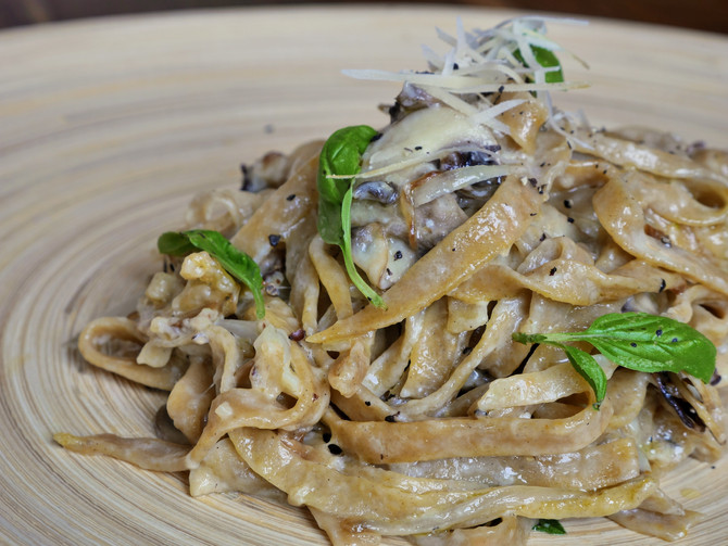 Two Cheese and Mushroom Fettuccine