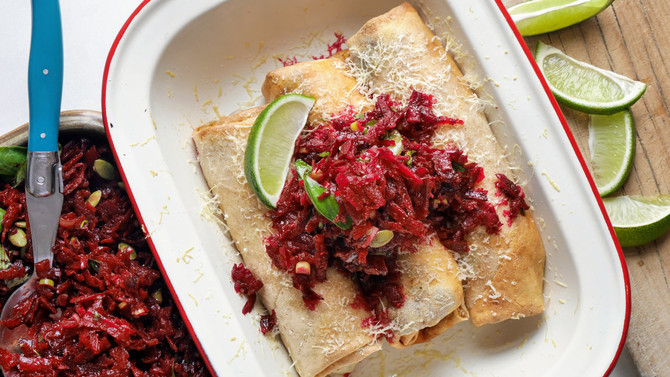 Light Crepe Manicotti with a Beetroot Chimichurri