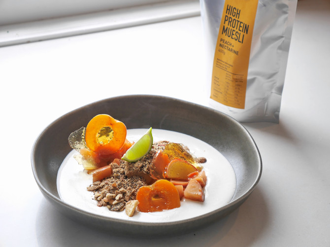 High Protein Muesli with Candied Fruit and Condensed Coconut Milk