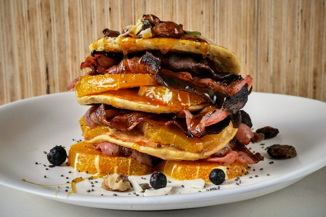 Maple Bacon and Banana Pancake Stack