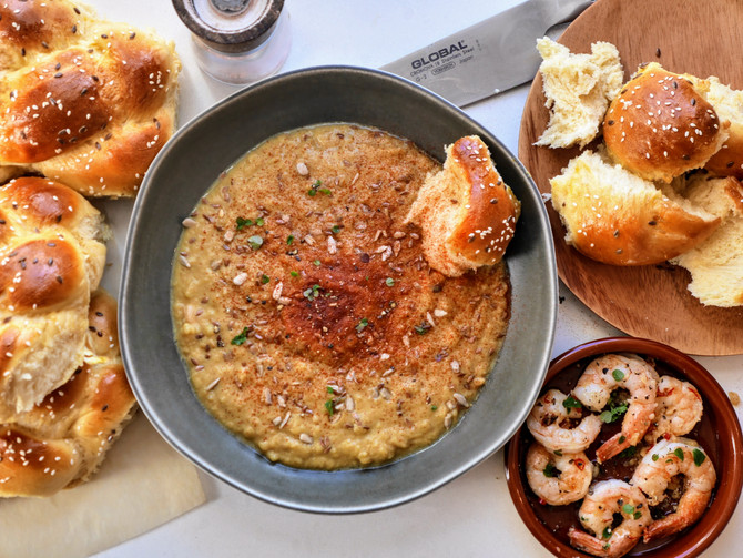 Sweet Potato and Swede Puree with Fresh Bread and Prawns