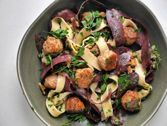 Sage, Walnut and Pork Meatballs and Pasta