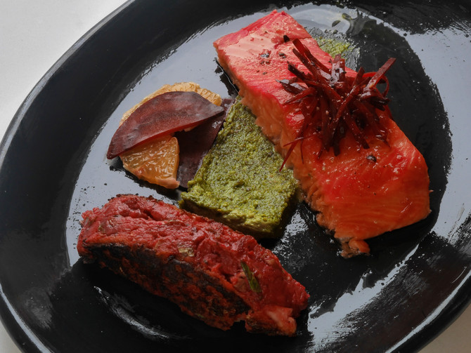 Sous Vide Beetroot Salmon, Pistachio Matcha Cream, Beetroot and Potato Cake