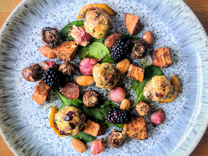 Pork, Almond and Cranberry Meatballs with Roasted Vegetables