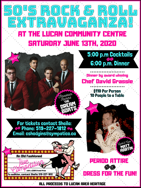 1950s Rock & Roll Extravaganza fundraiser live music gourmet meal dance contes