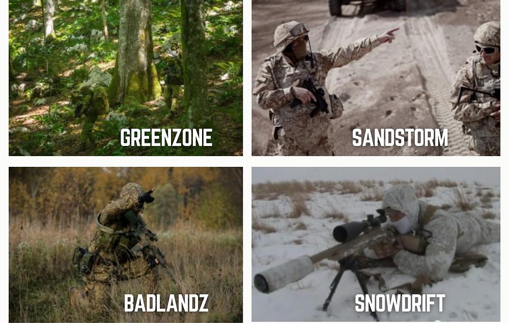 PenCott Tarnmuster, Greenzone, Badlands, Sandstorm, Winterdrift