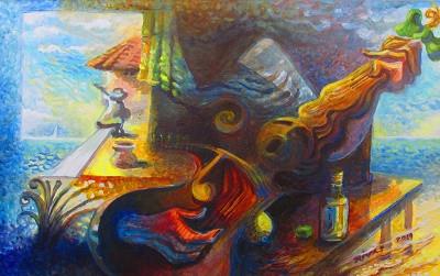 Rigo Rivas Troubadours Acrylic on Canvas