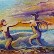 Rigo Rivas Women at the Beach 16x20 $300