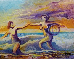 Rigo Rivas Women at the Beach 16x20 $300