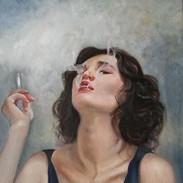 Ragazza con Sigaretta  Stefania Frimale  Oil on Canvas  40 by 50cm Italy
