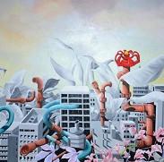 Franco Cattapan Citta 1 Oil on Canvas 70