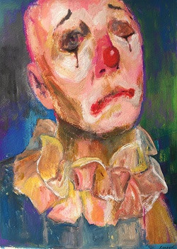Enech Maldonado Sad Clown Acrylic on Boa