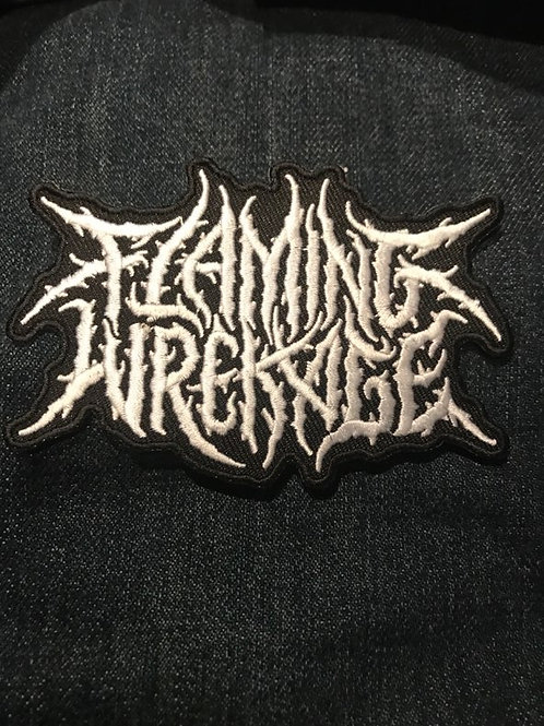 Flaming Wrekage Die Cut Embroidered Patch
