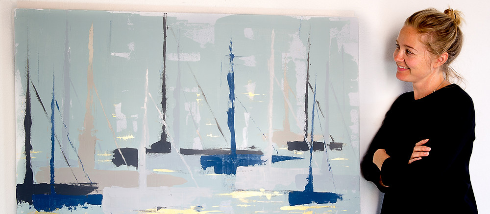 abstract sailing boats by Monica Moe, danish artist mallorca based