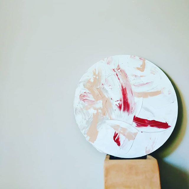 abstract art on small round canvas 40cm