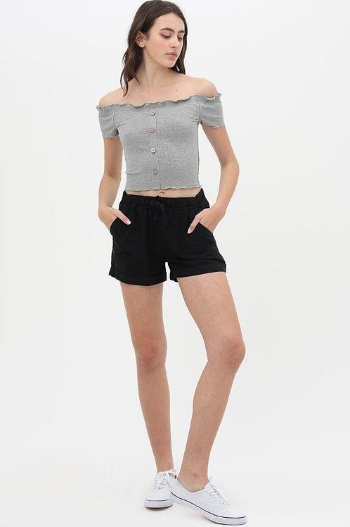 Best Selling Black Tencel Shorts
