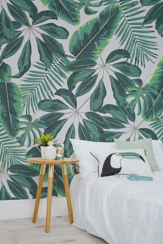 groen-jungle-behang-slaapkamer