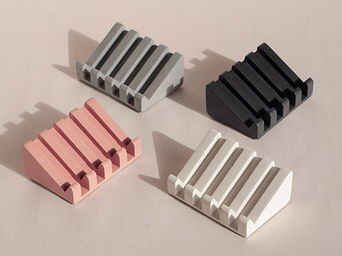 Concrete Soap Dish | Self-Draining Cement Bar Soap Holder & Sponge Saver