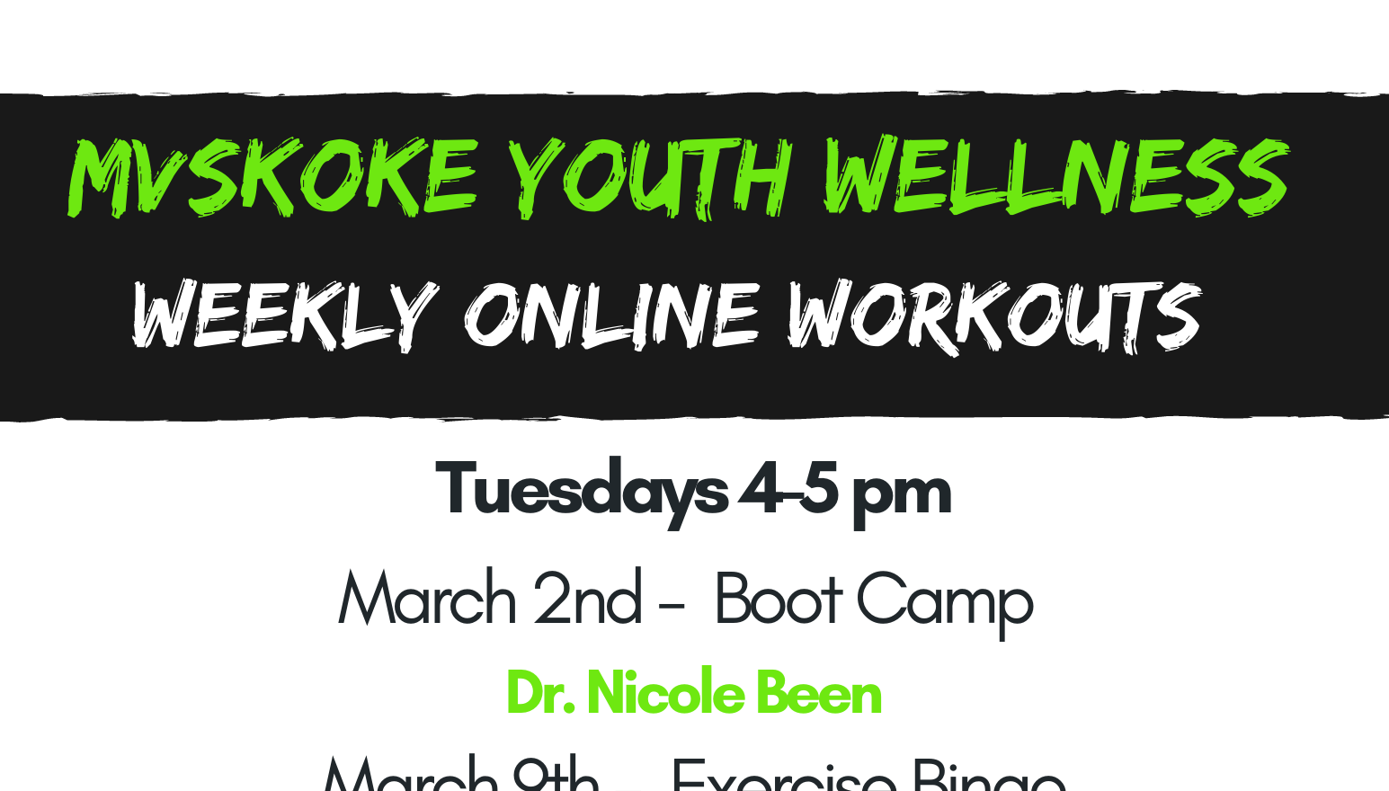 MY Wellness March Weekly Online Workouts