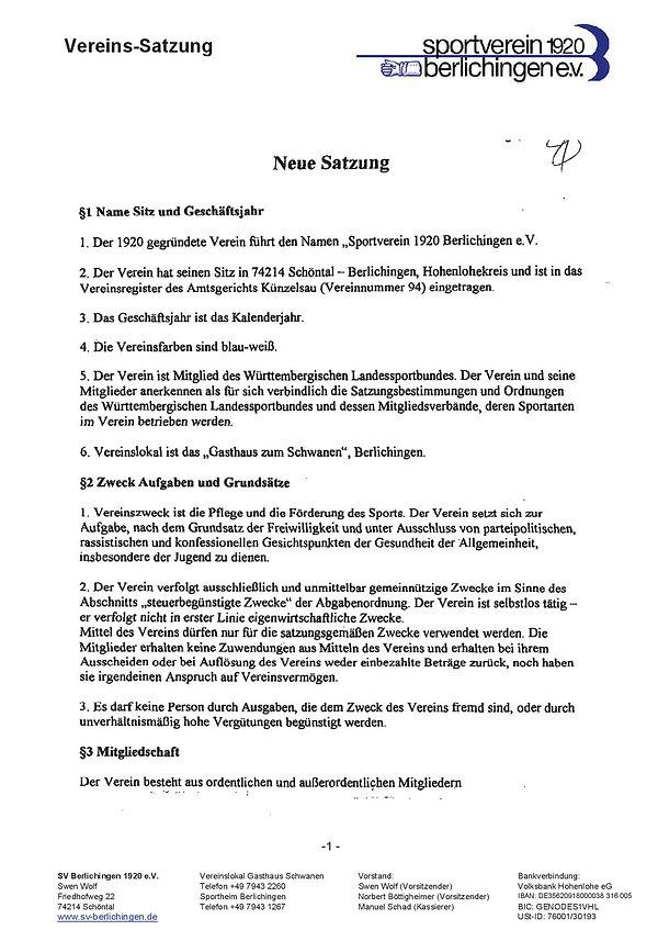 Vereinssatzung SVB
