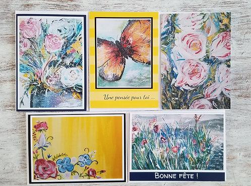 Ensemble de 5 cartes : Des fleurs pour ton coeur