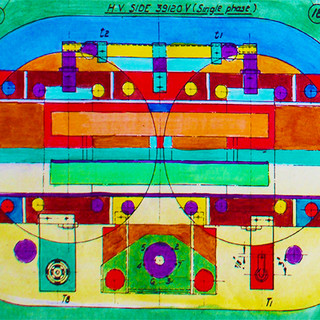 Technicoloured technical drawing