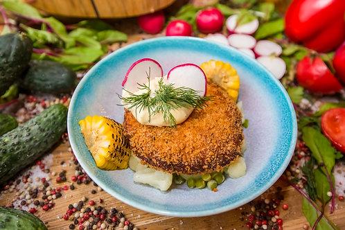 Котлета из щуки и лосося с овощами