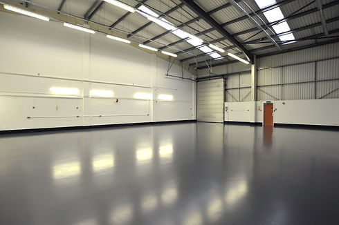 interior of empty and new warehouse with
