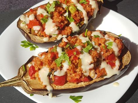 Millet stuffed eggplants / Paradicsomos kölessel töltött padlizsán
