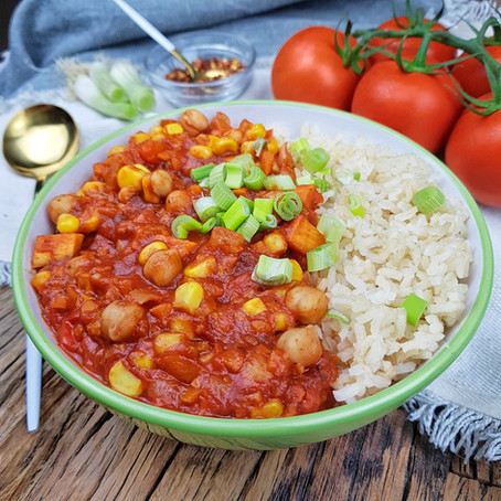 Smoky Sweet Potato Chickpea Chili - Füstölt Édesburgonyás Csicseriborsó Chili