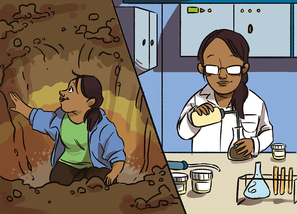 Illustration of Dr. AA Berhe studying a soil profile on the left and doing an experiment in the laboratory on the right side of the picture.