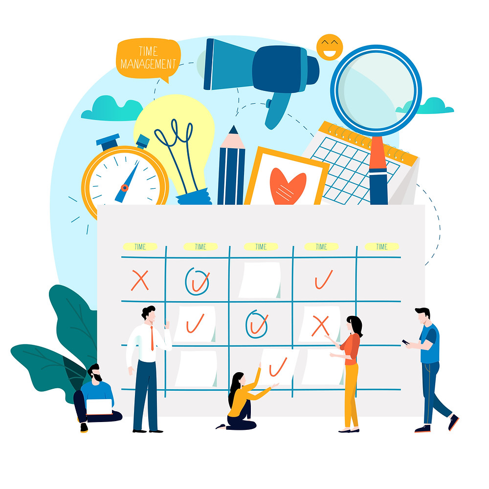 In front of the illustration we have a group of people workign together utilizing a big calendar. In the background of the image we have many things representing time management and work including a watch, lightbulb, pencil, calendar, magnifier, and a megaphone.