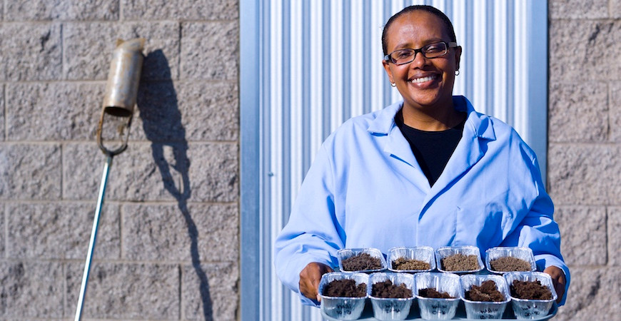 Dr. Asmeret Asefaw Berhe is showing a tray containing diverse soil samples of different colors.