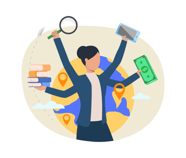 This image portrays a very busy person. This person has four hands, all of them busy. The first hand to the left is containing many books, the second hand  has a  magnifier, the third hand has a cellphone, and the forth hand has money. In the background we have a picture simulating the Earth with pins of locations as if it was indicating this person has many places to get to.