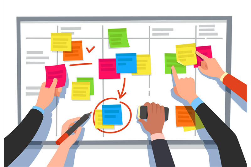Here we can see a board where several hands are pointing to different sticky notes as if they were forming part of a discussion.