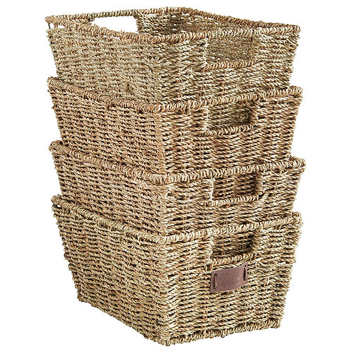 "VanHaus Seagrass Storage Baskets (Set of 4) 12"" x 9"" x 6"""