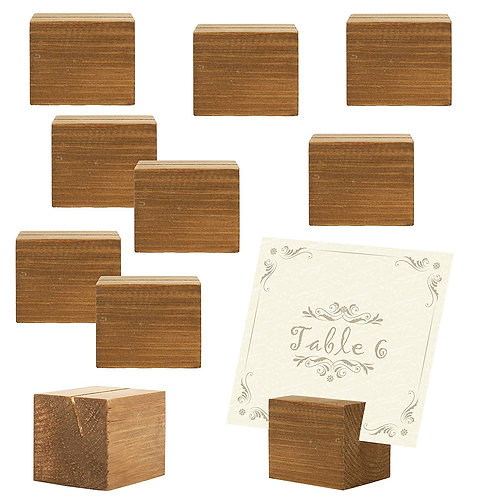 MyGift 10 Piece Rustic Natural Wood Rectangle Holders