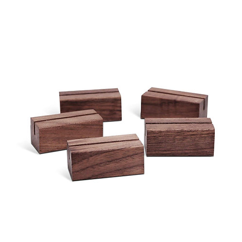 Place Card Holders (5 Pack) Rustic Walnut Wood