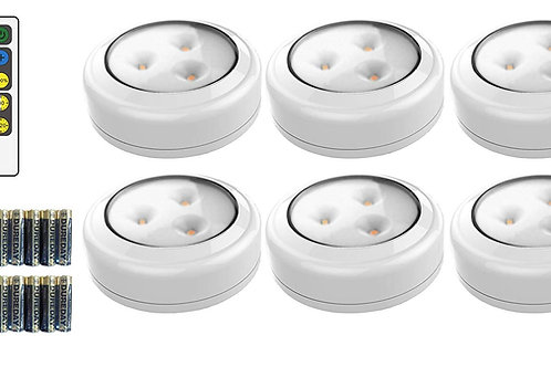 Brilliant Evolution Wireless LED Puck Light 6 Pack with Remote Control