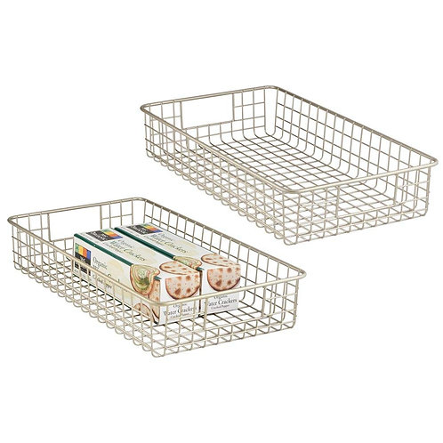 "mDesign Household Metal Wire Storage Bins 16"" x 9"" x 3"" - 4 Pack"