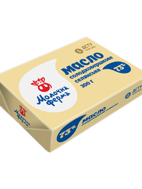 Масло сладкосливочное Экстра 73% 200 г ТМ Молочна ферма