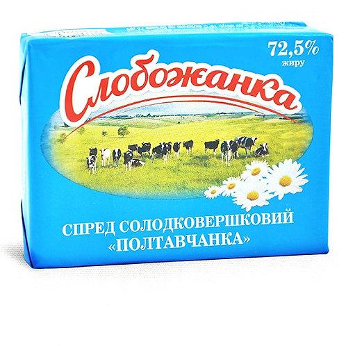 """Смесь растительно-сливочная  """"Полтавчанка""""  72,5 % 200г ТМ Слобожанка"""