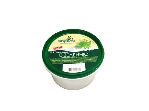 Сир плавлений с зеленью 55%  280г стакан ТМ СЛОБОЖАНКА