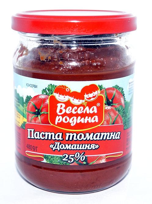 "Томатная паста ""Домашняя"" 25% 480 г стекло ТМ Весела Родина"