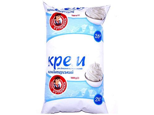 Крем кондитерский для взбивания 26% 1 л пленка ТМ Пані Хуторянка