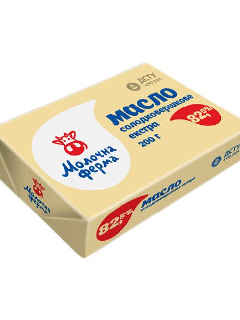 Масло сладкосливочное Экстра 82% 200г ТМ Молочна ферма