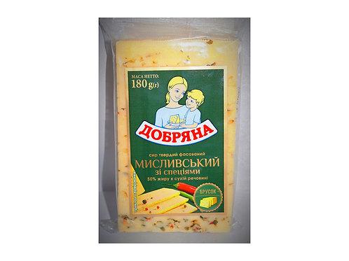 """Сыр """"Охотничий"""" со специями 50% 180 г фас ТМ Добряна"""