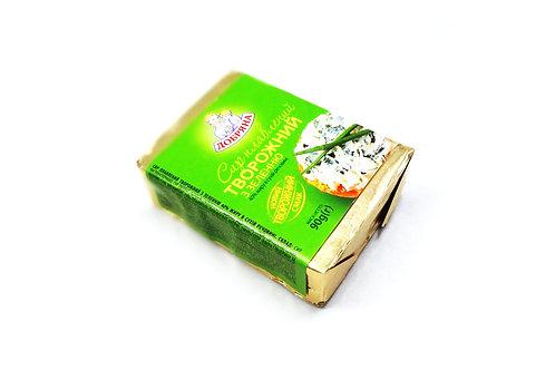 """Сыр плавленный творожный """"С зеленью"""" 40% брикет 90 г ТМ Добряна"""
