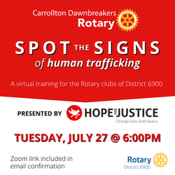 Human Trafficking Training with Hope For Justice 7-27-2021
