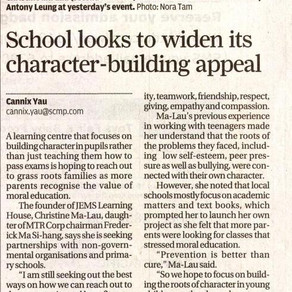 South China Morning Post: School looks to widen its character-building appeal